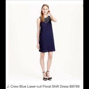 J. Crew laser-cut dress- Sz 4.  Navy.   EUC!!